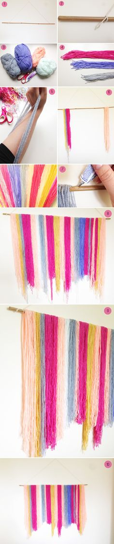 DIY: How to Make a Yarn Hanging Backdrop Hanging wall art or backdrop perfect for home decor or Diy Hanging, Hanging Wall Art, Diy And Crafts, Arts And Crafts, Diy Y Manualidades, Festa Party, Diy Wall, Wall Decor, Diy Tutorial