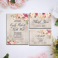 Printable Wedding Invitation suite Boho by HappyLifePrintables