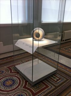 Bent Corian shelf inside display case - National Museum of Scotland