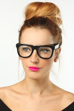 'Phoenix' Thick Frame Rounded Wayfarer Glasses - Black - 5096-1