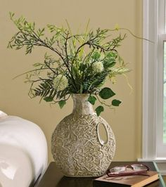 Amazon.com: Botanical Potted Plant In Antique Look Vase By Collections Etc: Home & Kitchen