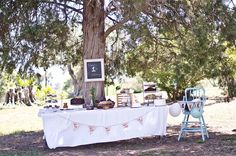 Dessert table : Kyler's Woodland First Birthday Party - Wildflower Blog  Photos by It's Love Photography