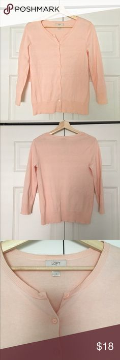 Ann Taylor Loft Cardigan 3/4 sleeve cardigan from Ann Taylor Loft. Like new, worn once. Color is a light salmon pink. Ann Taylor Sweaters Cardigans