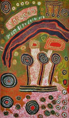 Iyawi Wikilyiri, Wati Kutjara Tjukurpa, 2012,Acrylic on linen,118 x 200 cm. Aboriginal and Pacific Art, Sydney.