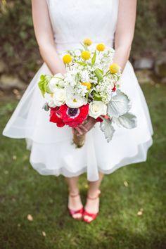 great July 4th bouquet, photo by Orange Blossom Photography http://ruffledblog.com/4th-of-july-backyard-wedding-inspiration #flowers #bouquets #weddingbouquet