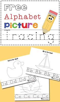 Free Alphabet and Picture Tracing Printables Totschooling Toddler And Preschool Educational Printable Activities Preschool Literacy, Preschool Letters, Learning Letters, Preschool Worksheets, Preschool Printables, Free Printables, Kindergarten Writing, Home School Preschool, Landforms Worksheet