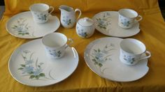 Rare Set of 4 Fine China Cups and Snack Plates ,Cream And Sugar Japan