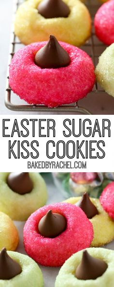 Soft and fluffy homemade Easter sugar Kiss cookie recipe from A fun and festive peanut-free treat for any spring occasion! Kiss Cookie Recipe, Easter Cookie Recipes, Kiss Cookies, Easter Cookies, Easter Treats, Holiday Cookies, Cupcake Cookies, Holiday Treats, Cupcakes