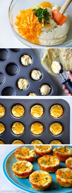 Cheesy Leftover Mashed Potato Muffins #recipe from justataste.com