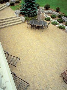Concrete paver patio Backyard Projects, Backyard Patio, Backyard Ideas, Garden Ideas, Concrete Paver Patio, Brick Patios, Wooden Arbor, Patio Pictures, Masonry Work