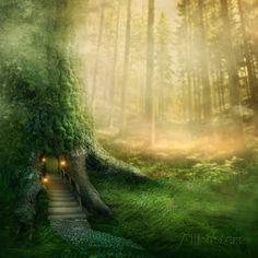 Fantasy Tree House in Forest Kunstdrucke von egal bei AllPosters.de