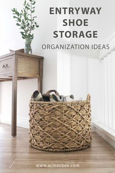 5 Best Front Door Shoe Storage Solutions The best front door shoe storage solutions for any space. Encourage guests to remove shoes when entering your home by providing great storage options. Shoe Storage Basket, Front Door Shoe Storage, Shoe Organizer Entryway, Shoe Storage Small, Hallway Shoe Storage, Front Door Entryway, Shoe Storage Solutions, Entryway Organization, Entryway Decor