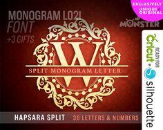 SPLIT LETTER svg Split Monogram split Font svg HAPSARA Cut File Vinyl Cutter Cricut Silhouette Wedding split Alphabet wedding Ornate 119 by SVGmonster on Etsy