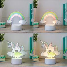 2-in-1 Unicorn & Rainbow USB Children's Light   Lights4fun.co.uk Girls Princess Room, Acrylic Shapes, Usb, Shades Of Yellow, Bedroom Themes, Light Table, Light Up, Playroom, Rainbow