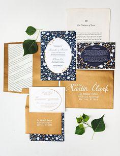 navy and copper wedding invitations - photo by Izzy Hudgins http://ruffledblog.com/inspiring-summer-wedding-looks #weddinginvitations #stationery