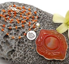 Delicate Carnelian Necklace with Tibetan Good Luck Amulet - Prayer beads, yoga…                                                                                                                                                                                 More