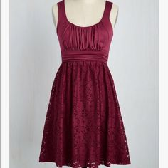 Modcloth Artisan Iced Tea Dress Burgundy Size L Well loved, the fabric is almost see-through, not sure if it was always like that or not. I LOVE this dress, but I just don't wear things that show my bust as much as this does, so busty ladies beware! Dresses