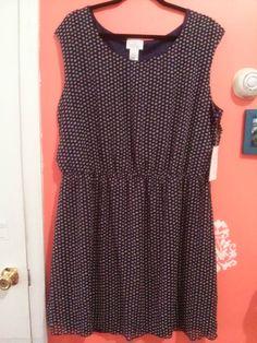 Geri C New York womens plus size 3x star printed dark blue dress