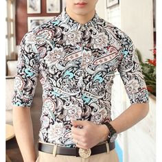 Stylish Shirt Collar Multi-element Abstract Print Half Sleeves Polyester Shirt For Men, BLACK, M in Shirts | DressLily.com