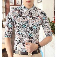 Stylish Shirt Collar Multi-element Abstract Print Half Sleeves Polyester Shirt For Men, BLACK, M in Shirts   DressLily.com