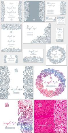 Floral ornate wedding invitation templates vector