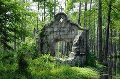 Cypress Gardens Moncks Corner, South Carolina.  Mission ruins from movie The Patriot
