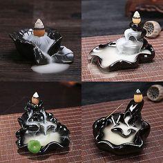 Handmade Black Ceramic  Incense Burner Holder Buddhist Or Cones Backflow Censer
