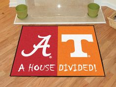 No one ever said your household had to cheer for only one team. Keep this Tenneessee / Virginia Tech House Divided Rug by Fanmats in your home to let your loved ones and guest know your team is not to be reckoned with! Alabama Vs Tennessee, Tennessee Volunteers, Alabama Crimson, Crimson Tide, College House, Burlap Door Hangers, Star Wars, Nylon Carpet, House Divided