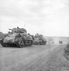 British Army in Tunisia 1943: Sherman tanks of the Queen's Bays (2nd Dragoon Guards) advance through the Gabes Gap, 7 April 1943.