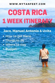 1 week itinerary in Costa Rica to the Central and South Pacific: Jaco, Manuel Antonio and Uvita. Tips on places to stay, things to do and estimated budget. Click through to read the itinerary: http://mytanfeet.com/costa-rica-travel-tips/1-week-costa-rica-itinerary/