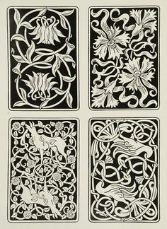Aymer Vallance, for the backs of playing cards. From The Yellow Book (II), 1894.  [oldbookillustrations: via archive.org]