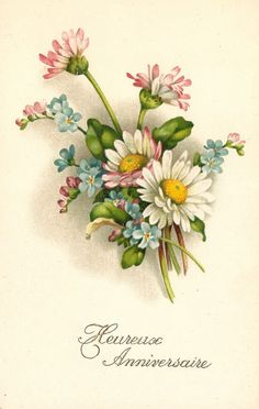 Daisy with Pink & Blue Flowers Bouquet Antique French