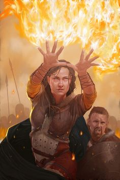 Wizard/Burning Hands (from the 5e Dungeons & Dragons Player's Handbook). Art by John Stanko.