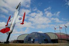 Pole mounted Lockheed F-104 Starfighter gate guardian at Canadian Warplane Heritage Museum.