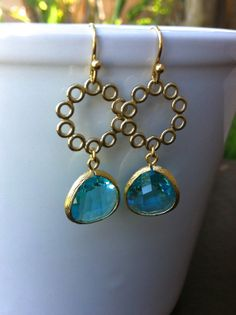 Intense Aqua Gold Plated Drop Earrings Crystal by MiaCocoDesigns, $25.00