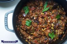CAPONATA: COOKED SICILIAN AUBERGINES  FULL RECIPES: http://bit.ly/2ia6kaJ