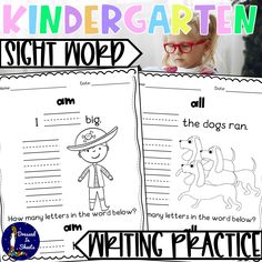 Kindergarten Sight Word Writing PracticeThis great printable workbook will have: writing practice pages word searches Dolch word flashcardsYour kiddos will enjoy reading, coloring, and writing… Sight Word Practice, Writing Practice, Kindergarten Language Arts, Dolch Sight Words, Literacy Centers, Homeschool, Coloring, Printable, Classroom