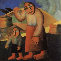Peasant Woman with Buckets and a Child - Kazimir Malevich 1911 (Stedelijk Museum, Amsterdam, Netherlands) Kazimir Malevich, Russian Avant Garde, Russian Folk Art, Soviet Art, European Paintings, Art Database, Wassily Kandinsky, Cubism, Painting & Drawing