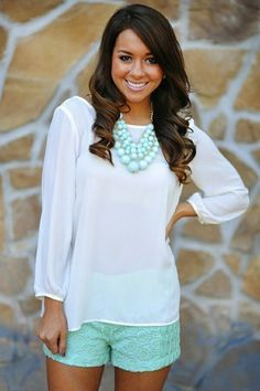 Sheer Blouse, Shorts, Necklace