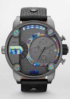 Diesel Herren-Armbanduhr XL Little Daddy Chronograph Quarz Leder - uhr. Seiko Diver, Amazing Watches, Cool Watches, Unique Watches, Wrist Watches, Bracelet Cuir, Luxury Watches, Rolex, Black Leather