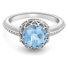 Bloomsbury White Gold Blue Topaz Coronation Ring by London Road Jewellery (9.070 CZK) found on Polyvore featuring women's fashion, jewelry, rings, blue, accessories, joias, white gold jewelry, london road, white gold jewellery and antique white gold ring