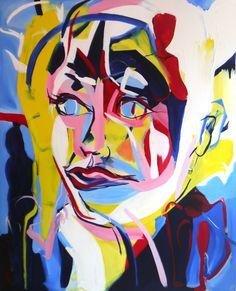 "Amazing paintings and drawings from London based Slovakian artist Daniela Raytchev at http://danielaraytchev.com/ ""Wonder - Gail Porter"", 2015, 145 x 180cm, ©Daniela Raytchev"
