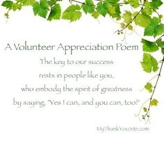 Thank You Volunteers Poems - Volunteer Appreciation Poem - Poem to Say Thank You