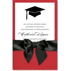 Celebrate your school colors with this pocket-style 2017 graduation party invitation from www.invitationbox.com. A red linen pocket folds up to hold a white insert card with a black grad cap motif for your text. A black satin ribbon wraps around the bottom of the pocket to hold your invitation neatly together. Includes white unlined envelopes.Additional postage is required.