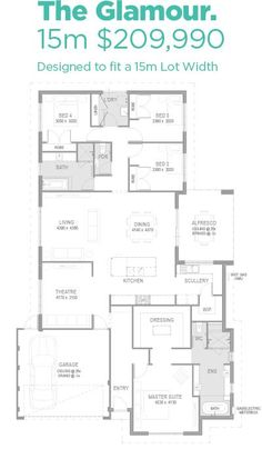 Make bedroom 3 a library or all purpose room and I'd like this one a bunch! Best House Plans, Dream House Plans, House Floor Plans, Home Design Floor Plans, Plan Design, Building Plans, Building A House, 4 Bedroom House Plans, House Blueprints