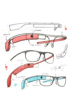 Sketches for Google Glass frames.