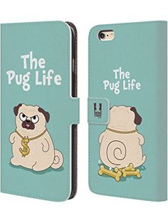 Head Case Designs Life Sky Blue Piper The Pug Leather Book Wallet Case Cover for Apple iPhone 6 / 6s ❤ tusibai