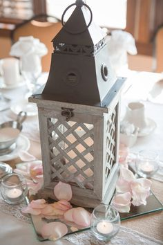 White lantern with a mirror -- Lantern centerpieces Danielle & Dan Photo By Ashley Fisher Photography Latern Centerpieces, Mirror Centerpiece, Wedding Centerpieces, Wedding Table, Diy Wedding, Dream Wedding, Wedding Decorations, Wedding Ideas, Boho Beach Wedding