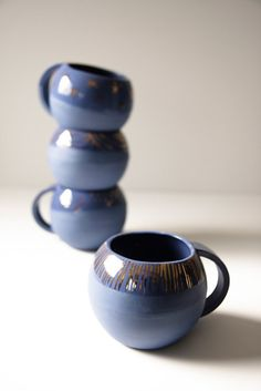 KaroArt Ceramics- Midnight Blue Florentine Cups