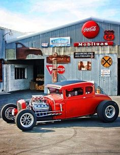 #hot rod #hotrod look up at top of the barn u see the coke sign? yes also nice hot rod or rat rod :)
